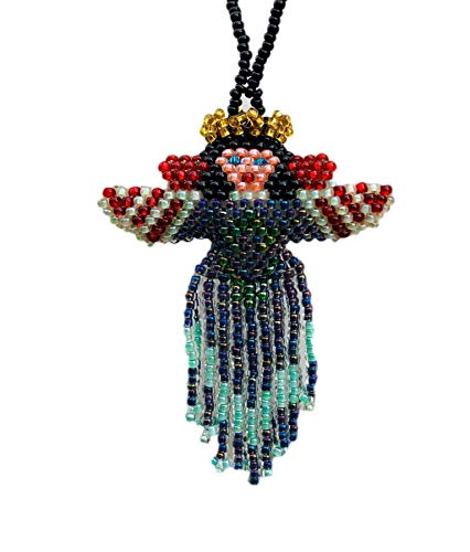- Christmas Ornaments, Beaded Ornamental Figurine, Angels, Gift Topper Christmas Tree Ornaments, Blue with red accent seed beads, Holiday Decoration, Thank you gift, Handmade in Guatemala, 2