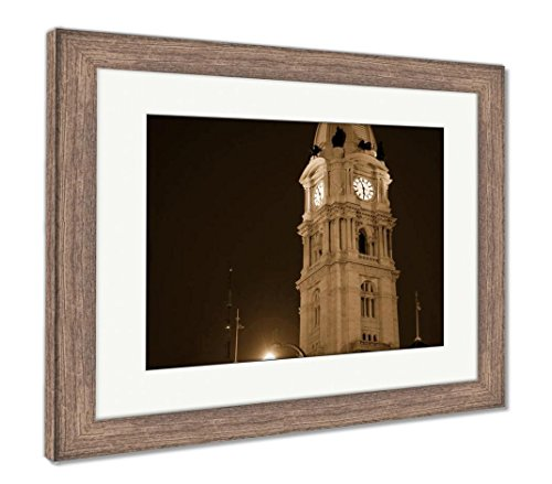 Philadelphia Hall City Statue (Ashley Framed Prints Philadelphia City Hall, Wall Art Home Decoration, Sepia, 34x40 (frame size), Rustic Barn Wood Frame, AG6489280)