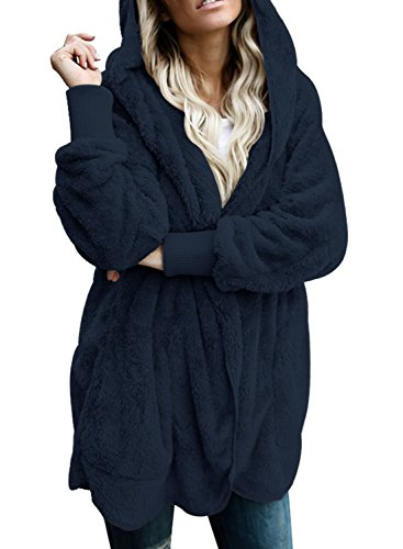 Dokotoo Womens Fashion 2019 Plus Size Casual Ladies Fuzzy Winter Fall Open Front Long Sleeve Fleece Pocket Hooded Cardigan Sweater Jacket Coat Outwear Navy XX-Large