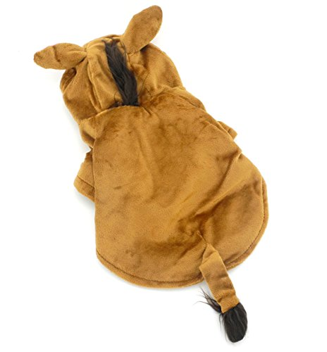 ZUNEA Funny Small Dog Cat Horse Costume Halloween Velvet Hooded Pet Puppy Coat Jacket Soft Warm Party Doggie Cosplay Clothes Apparel Brown (Easy Halloween Costumes For Horses)
