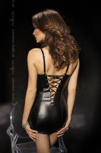 Wetlook Minikleid glänzendes Schwarzes Kunstleder aus mit Rückenschnürung Oq1AAp5xwE