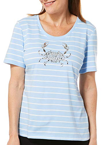 (Coral Bay Petite Striped Jeweled Crab Top Small Petite Placid)