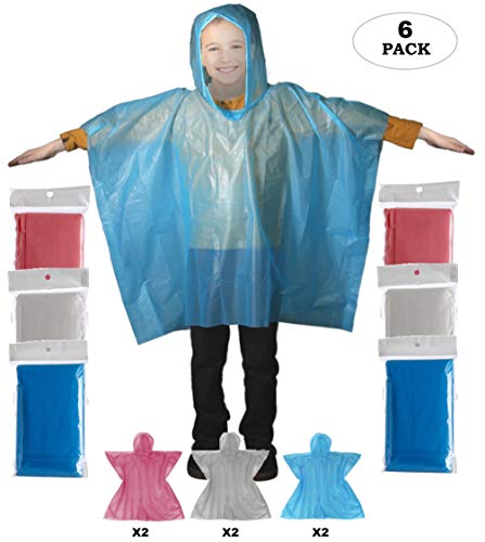 Rain Poncho - Thick Disposable Kids Emergency Raincoat with Hoodie | School Recreation Hooded Rain Gear for Girls and Boys | Outdoor Weather Protection for Children Pack of 6 (Assorted)