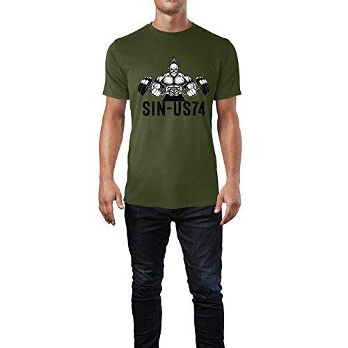 SINUS ART® Bodybuilder mit Totenschädel Langhantel Herren T-Shirts in Armee Grün Fun Shirt mit tollen Aufdruck
