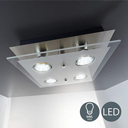 B.K.Licht - Lampara plafon LED de forma cuadrada con 4 focos y de cristal para interiores con diseno elegante y discreto de luz blanca calida, 3W y 250 lumenes, 3000K, color niquel mate