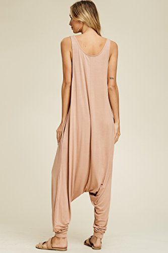 Annabelle Women's Comfy Rayon Solid Color Sleeveless Harem Jumpsuits
