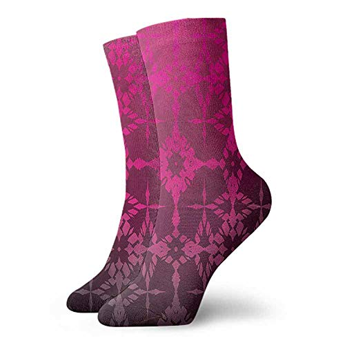 Men's Socks Happy Funny Magenta,Mosaic Vintage Pattern 3.4