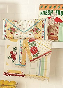 - Moda Home Vintage Style Fresh Fruit in Yellow Kitchen Towels Set of 4