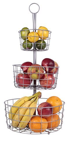 JMiles UH-FB205 3 Tier Decorative Wire Fruit Basket Countertop Stand (SILVER)