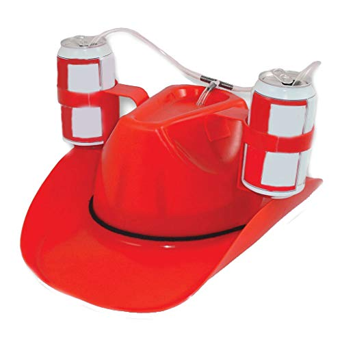 2019 New Beer Soda Drinking Hard Hat Helmet Hands Free Drinking Tool for Fun Drink Guzzler,Built-in Straw King of Beers Drinking Hat (Red)