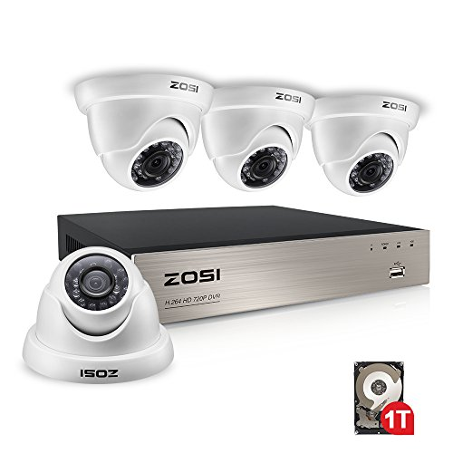 ZOSI 8CH Security Camera System 1080N HD TVI CCTV DVR with (4) 1.0MP 720P Indoor/Outdoor Surveillance Dome Cameras,65ft Night Vision, 1TB HDD,3G/4G Smartphone View (White)