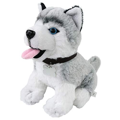 (Athoinsu Stuffed Animal Adorable Husky Soft Plush Toys Realistic Dog with Writable Puppy Name Tag Unique Gift for Kids or Pets, 8'')