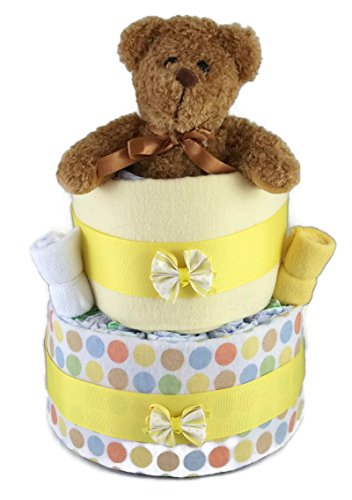 Sunshine Gift Baskets - Little Teddy Yellow Diaper Cake Gift Set