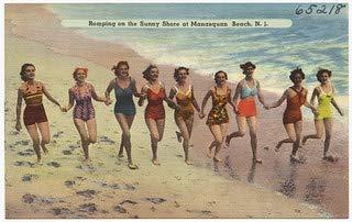 HistoricalFindings Photo: Romping on The Sunny Shore at Manasquan Beach, N. J. (Bar Nj Furniture)