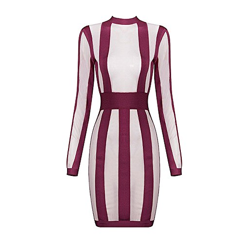 HLBandage Women's Long Sleeve Stripes Mini Rayon Bandage Dress Rojo