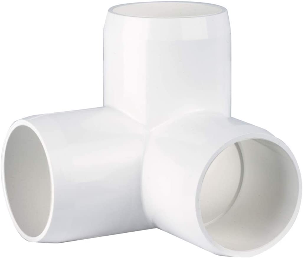 "CIRCOPACK 1-1/4"" 3-way Ell PVC Fittings Furniture Grade for Schedule 40 PVC Pipes, 1-1/4 inch 3-way L fitting connectors (2 pieces)"