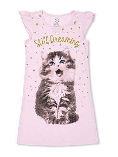 (Girls Nightgown Pajamas Summer Ruffled Sleeve Glitter Cats Kitty (Small 6-6X))