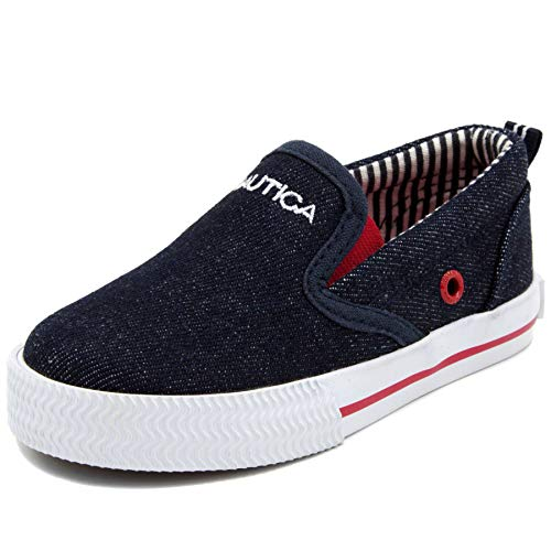 Heel Boy Shoes - Nautica Kid's Akeley Youth Slip-On Casual Shoe Canvas Sneaker-Akeley-Dark Denim-5