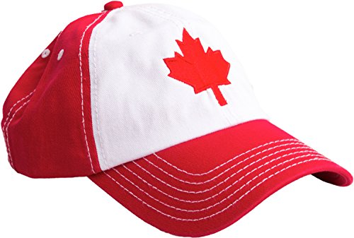 T-shirt Hat Embroidered (Canada Maple Leaf Hat | Canadian Pride Embroidered Adult Twill Baseball Cap)