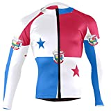 CHINEIN Men's Cycling Jersey Long Sleeve with 3 Rear Pockets Shirt Panama Flag National Emblem