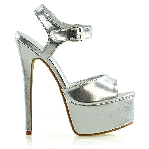 Metallizzato Signore Scarpe Stiletto Piattaforma Le Alto Argento Donna Studentesco GLAM Ballo ESSEX Tacco Sandali aPw6O61qY