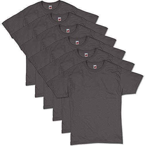 Hanes Men's ComfortSoft Short Sleeve T-Shirt (6 Pack), Smoke Gray, L