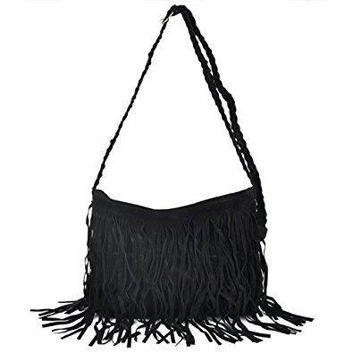 Black Suede bags TOOGOO X Body Hippie Fringed Black Shoulder Boho R Messenger Tassel Hand Purses nqqP6X1