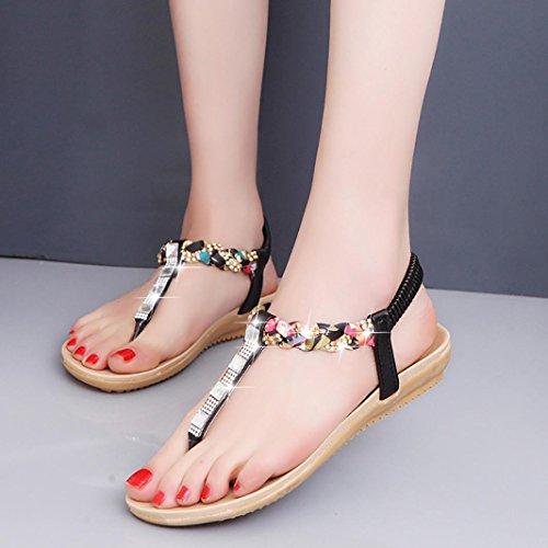 Ouneed® Damen Sandalen ,Damen Sommer glitzer flache Schuhe Perlen Böhmen Freizeit Sandalen Peep-Toe Flip Flops Schuhe 2017 Schwarz