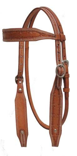 Showman Argentina Cow Leather Headstall w/Barbed Wire Tooling! New Horse TACK! ()