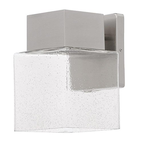 Home Decorators Collection Essex Brushed Nickel Outdoor LED Powered Wall Lantern