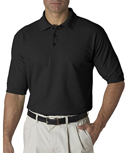 UltraClub Mens Whisper Pique Polo 8540 - Black_XL