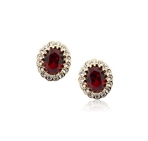 Gold Plated Oval Shaped Ruby Red Swarovski Elements Crystal with Cubic Zirconia Stud Earrings Fashion Jewelry for Women