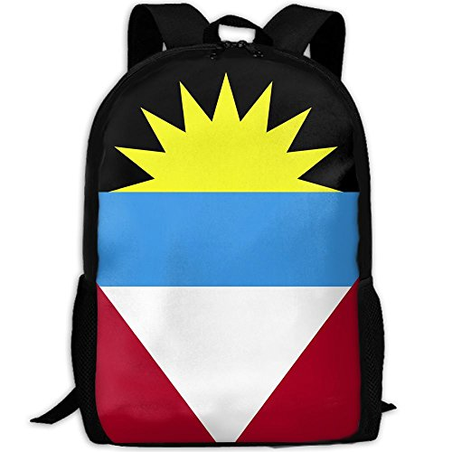 Backpack, Travel Hiking Waterproof Big Student College High School Shoulder Outdoor Canvas Backpack, Antigua And Barbuda Flag, Shoulder Bag Backpacks For Men Women Adults