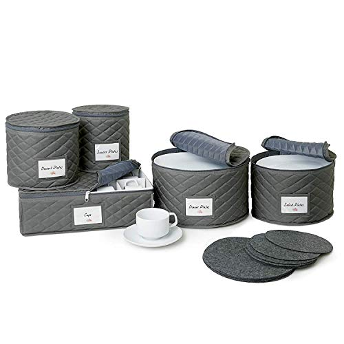 - Quilted China Storage Containers - 5-Piece Dish and Cup Storage Set for Storing, Protecting or Transporting Your Cherished Dinnerware