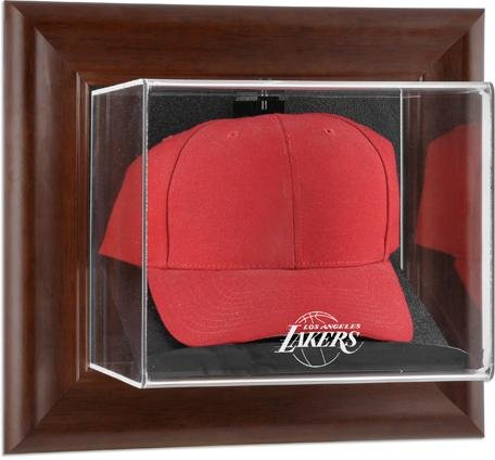 Los Angeles Lakers Brown Framed Wall Mounted Cap Case