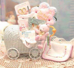 Bundle of Joy Baby Carriage Teal New Baby Gift basket (Picture Baby Carriage)