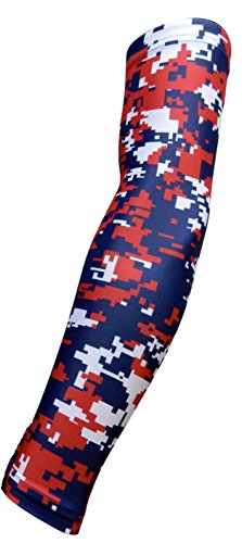 New! Navy Blue Red White Digital Camo Arm Sleeve - Moisture Wicking Compression (Medium)