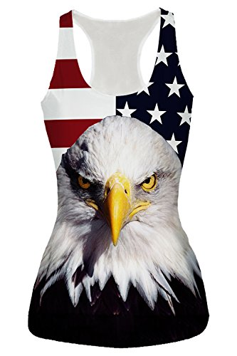 Rainbow Womens Tank Top - Activewear Running American Flag Eagle Workout Clothes Yoga Racerback Tank Tops for Women