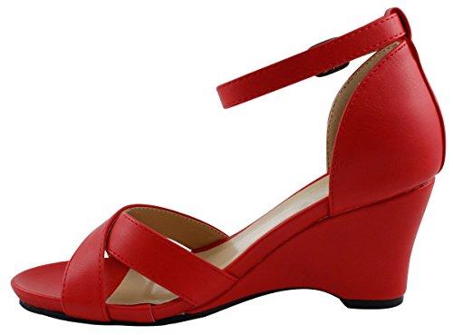 Cambridge Utvalda Womens Öppen Tå Kors Och Tvärs Fotled Strappy Plattform Wedge Sandal Röd