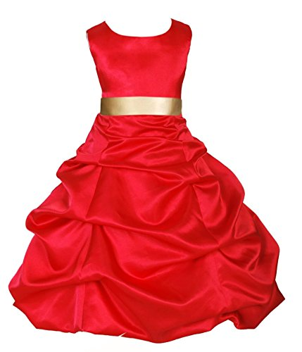 Wedding Pageant Red Flower Girl Dress Christmas Party Toddler 806s 8 (Christmas Pageant Dresses)