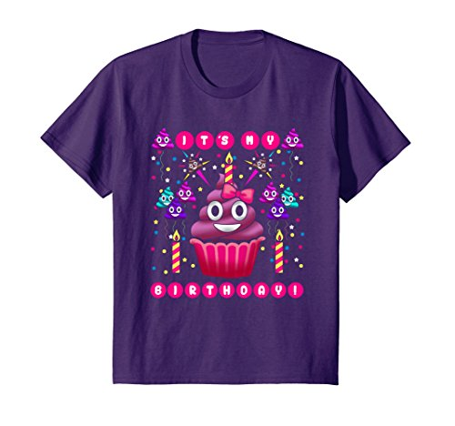 Kids Pink Poop Emoji Smiley Face Birthday Cupcake Party Shirt 8 Purple