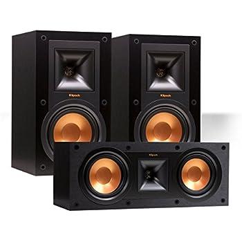 Klipsch R 15M Reference Bookshelf Monitor Speaker Pair With 25C Center Black