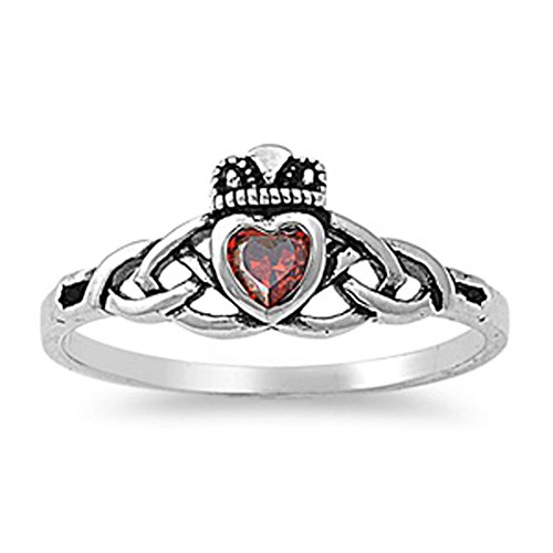 Sterling Silver Antiqued Claddagh Ring - Simulated Garnet Celtic Knot Antiqued Claddagh Ring 925 Sterling Silver Band Size 3