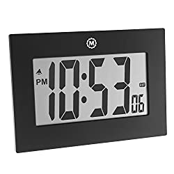 Marathon CL030064BK 9 Large Digital Frame Clock with 3.25 Digits - Batteries Included (Black)