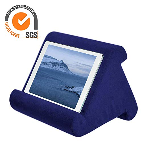 Tablet Pillow ipad Pillow Holder Reading Pillow Multi Angle Pad Stand | Black / Sapphire / Gray / Blue / Burgundy, Angle Tablet Cushion Pillow for iPad Air & iPad Used on Bed, Knee, Desk, Sofa, Floor