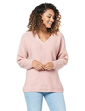 French Connection Women's Ribbed V Neck Knit, Dusty Pink, Extra Small