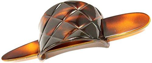 Parcelona French Arch Diamond Pattern Tortoise Shell Hair Slide Pin Thru Bun Cover Cap Ponytail Holder Hair Updo with Hair Stick ()