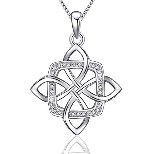 EURYNOME 925 Sterling Silver Square Vintage Irish Celtic Knot Pendant Necklace, Box Chain 18