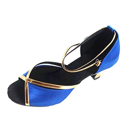 Toe Salsa Ballroom Comfortable Peep Shoes Dance Blue Latin XFentech Women's Tango qOF6pSqf