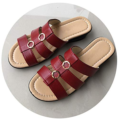 Witch-House Good-Looking Sandals 2018 Summer Woman Slippers Middle-Aged Flat Women Comfortable Slippers Slope Leisure Large Size,Red Wine,7.5